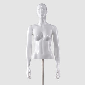 Glossy white women torso half body torso female lingerie mannequins with adjustable arms