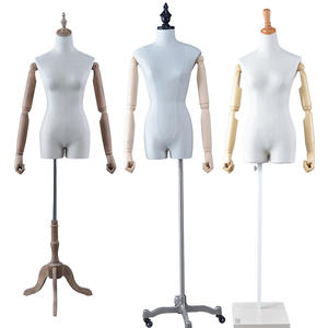 Customized half body fiberglass mannequin fabric upper body female mannequin with wooden arms(DFM)