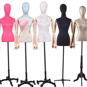 Half Body Adjustable Female Mannequin Dress Form Display With Wooden Arms (PFM)