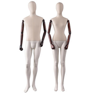 Customized mannequin fiberglass female male dummy with flexible wooden arms(NWM)