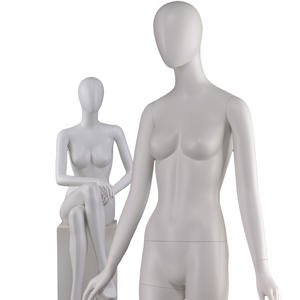 Egg Head Matte White Fiberglass Female Mannequin Female White Mannequin (PFM Female White Mannequin)