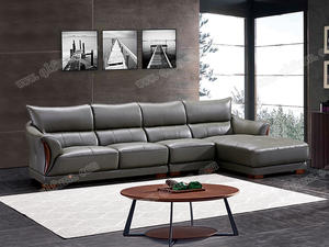 OEM raw wood Walnut Leather Sofa8080