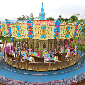 Outdoor Amusement Park Shopping Mall Carousel Horse Rides For Adult And Kids For Sale