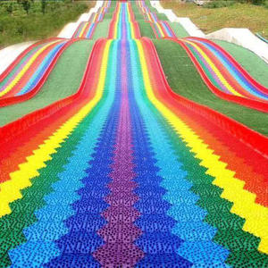 unpowered low cost colorful rainbow slide manufacturer and supplier Jinbo