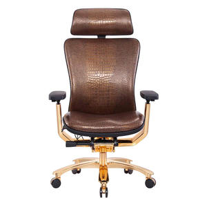 High Back BIFMA Chair Real Leather Ergonomic Gold Chair