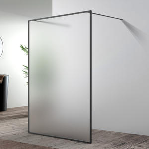 european matt black shower screen with colored glass supplier