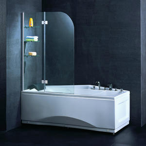 Double panel hinged bathtub screen with glass shelves