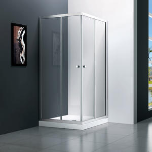 T542 square frameless sliding shower door, double sliding doors meeting in corner-corner entry with slightly bigger showering area;