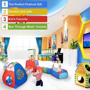 Kids Play Tents Crawl Tunnels Ball Pit With Basketball Hoop Pop Up Playhouse For Baby Babies Toddlers Toy Tent
