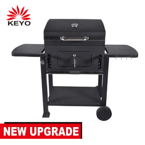Outdoor heavy duty square trolley charcoal barbecue table bbq grill
