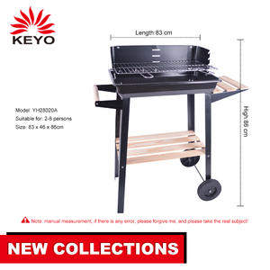 Outdoor Garden Black Wooden Side Table Red Portable Charcoal Grill Barbecue