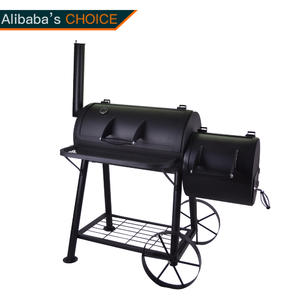 KY30040L Outdoor Large BBQ Grill Smoker With Chimney And Big Wheels And 2 Firebowls