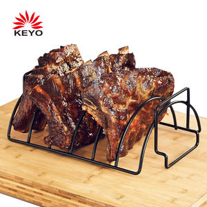 KY3623 Rib Holder 14 Inch Large Non-Stick Stainless Steel Reversible 6 BBQ Grill Rib Rack