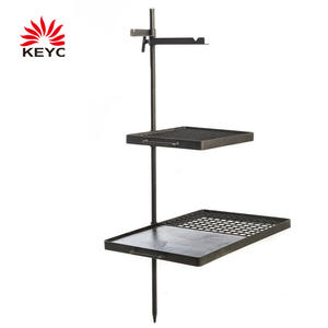 KY9369SG Camfire Cooking BBQ 37 Inch Durable Camping Swing Grills And Hotplate Combo With Centre Pole