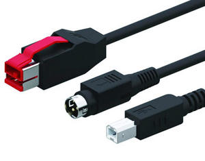 24V Powered USB to Hosiden 3Pin + USB Type B Cable | Wholesale & From China