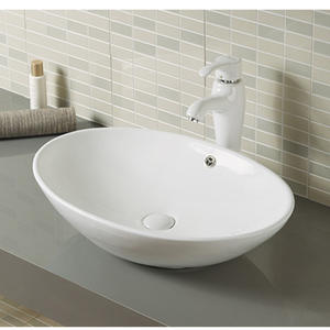 Oval shape ceramic vanity top bathroom wash basin