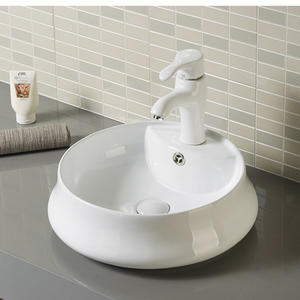 Round Bathroom Basin Hand Wash Sink With Faucet Hole