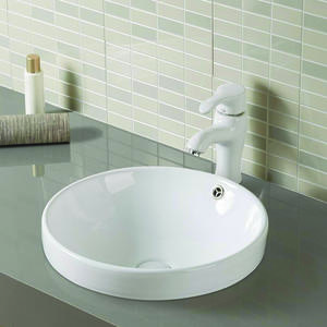 Semi-recessed Ceramic Counter Top Wash Hand Basin