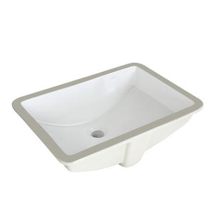 Vitreous china under-counter rectangular bathroom basin