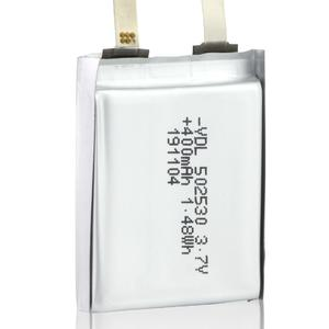 502530 3.7v,400mAh rechargeable battery which is made of cobalt oxide ​​​​​​​