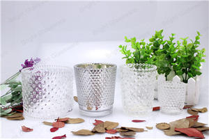 wholesale Machine-pressed glass votive holder / Colorful small candle holder glass manufacturer