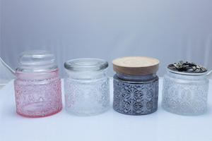 custom Fancy food grade clear carving pattern storage container candy cookie glass jar wholesaler