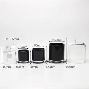custom Free sample luxury black glass dome candle holder glass cloche jar wholesale