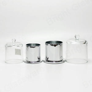 custom Round Mercury Silver Domed Cover Glass Candle Holder Cloche Jar with Glass Base