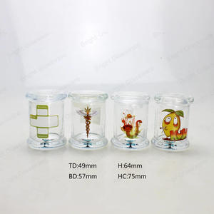 custom Customized Decal Logo Clear Round Glass Candle Jar With Glass Flat Lid wholesaler