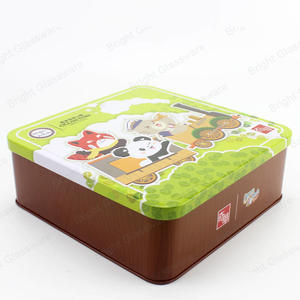 square printed cartoon christmas cookie tin gifts packing box
