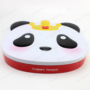 kids favor cute cartoon panda head shape metal tin box for cookies food storage candy tin can
