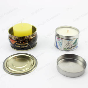 Custom Printing Empty Round Shaped Candle Tin Containers With Lid