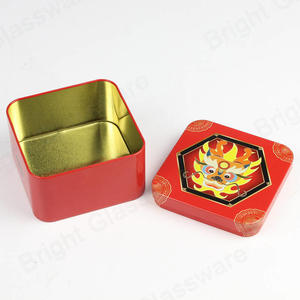 Metal Square Coffee Spices Tea Candy Canisters Gift Boxes Red Tin Box