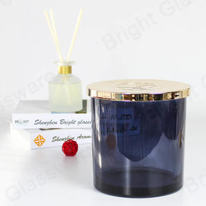 1500ml Large grey red blue 3 wicks candle glass jars with gold metal lids for candle making