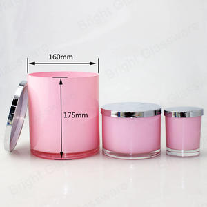 2550ml 1000ml 300ml Pink Candle Glass Jar Container With Gold/Silver Lid For Candle Making