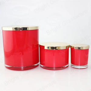 cylindrical recycled large round candle  Glass Jars for 3 wicks candle making