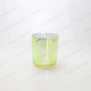 16oz Colorful Iridescent Candles Holder Glasses Rainbow Candles Glass Jar For Wedding Decoration