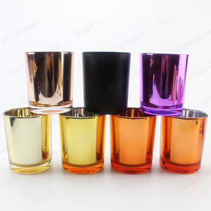 electroplating colored rose gold candle jar glass for Christmas decoration