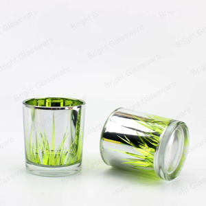 Plated sliver glass candle containers cylinder laser engraved candle holder