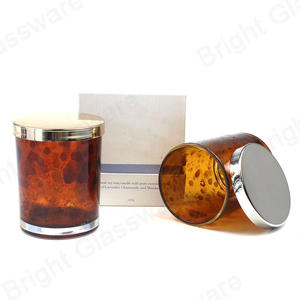 Amber Glass Jar Printing Pattern Leopard Candle Holder for Wedding Decoration