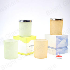 8 oz empty luxury candle glass jar holder with metal lids and gift packing box