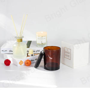 New Christmas Decoration 8oz Glass Amber Candle Jar With Wooden Lid And Box