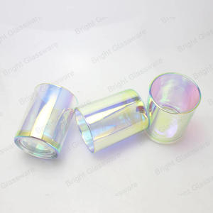 New Glass Decoration Plated Rainbow Glass Candle Holder With Iridescent Finish