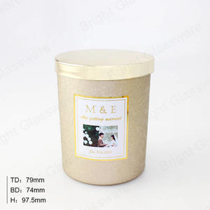 wholesale Luxury gold candle vessel jar with metal lid empty soy wax candle jar