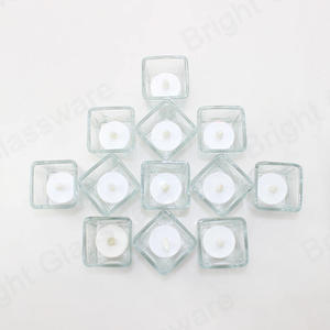 Modern Clear Crystal Scented Candles Square Glass Votive Candles Containers