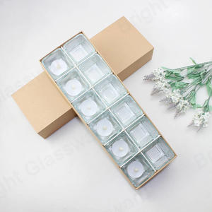 12 pcs Mini Round Tealight Glass Candle Holder Gift Set With Kraft Paper Packaging box for Wedding