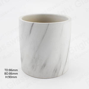 Custom Matte White Marble Ceramic Jar Cylinder Ceramic Candle holder