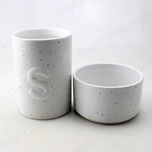Wholesale New Product Round White Ceramic Candle Container Jar For Scented Candle
