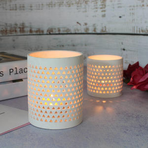 White Pierced Flower Pattern Cylinder Shape Tea Light Candle Ceramic Holder For Home Decoration