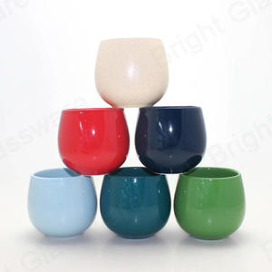 ball shaped modern empty glazing color ceramic candle jar for indoor decorative